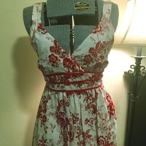 Darling Red and White 100% Cotton Summer Dress by